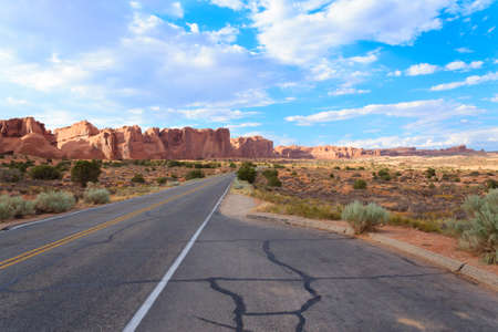 Panorama from Utah. highway through Arches National Park. United States of America. Stock Photo - 75760920
