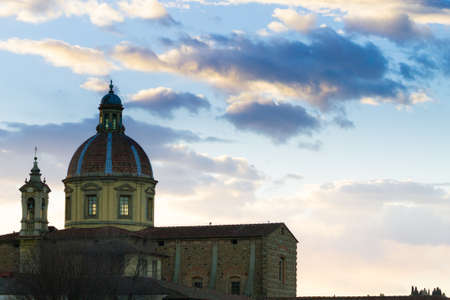 Florence view, Arno river and San Frediano church, Italian panorama, Italy Stock Photo