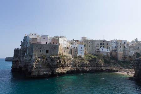 Polignano a mare view, Apulia, Italy. Italian panorama. Cliffs on adriatic sea