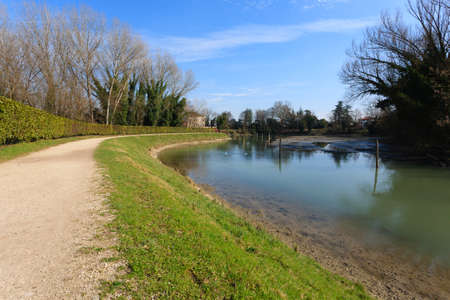 navigable: Walk path along Sile river. Sile river natural park, Italy. Sport and outdoor