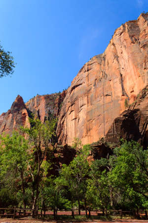 Panorama from Zion National Park, Utah USA. Geological formations. Beautiful scenery Stock Photo