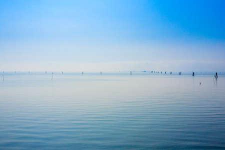 groynes: Goro port view. Po Delta wetlands landmark. Italian travel destination