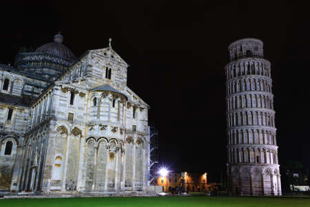 Piazza dei Miracoli with the Leaning Tower of Pisa, Italy. Italian landmark Stock Photo