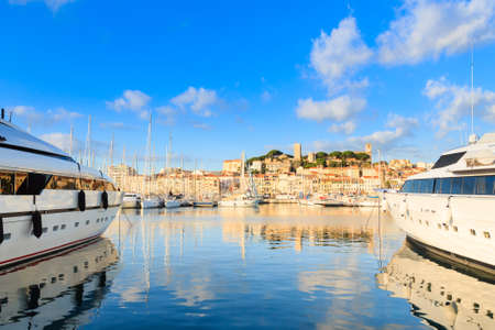 maritimes: Harbor and marina at Cannes, French Riviera, France. Luxury boats. Stock Photo