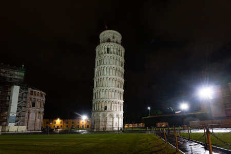 Piazza dei Miracoli with the Leaning Tower of Pisa, Italy. Italian landmark Editorial