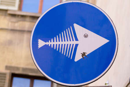 acquarium: Road sign that looks like a fish, street art, metropolitan art