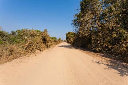 Brazilian dirt road in perspective. Famous Brazilian Transpantaneira dirt road. Pantanal area, Brazil Imagens