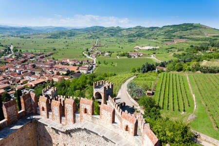 Aerial view of Soave, medieval walled city in Italy. Famous wine area. Italian countryside