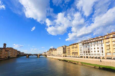 Beautiful Florence landscape, Italy. Houses along Arno river. Italian panorama Stock Photo
