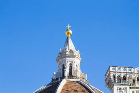 View of Florence Cathedral with Giotto bell tower, Italy. Italian landmark Stock Photo