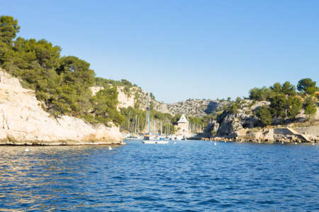 Beautiful nature of Calanques on the azure coast of France. Calanques National Park near Marseille. Nature and outdoor