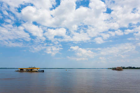 Meeting of Waters .Rio Negro and Rio Solimoes confluence near Manaus. Brazilian landmark Reklamní fotografie