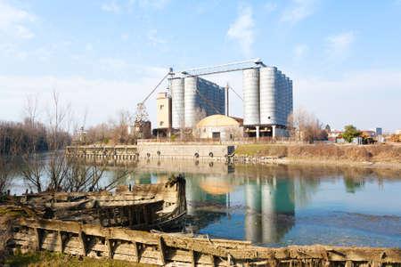 Industrial archeology along Sile river. Old abandoned factory. Italian landmark