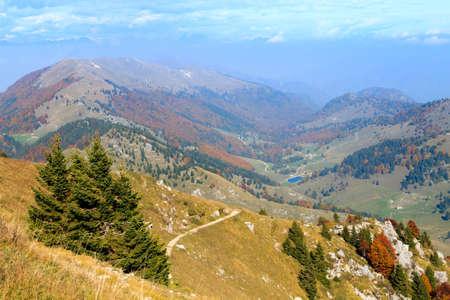 Autumn landscape from Grappa mountain, Italian Alps Stock Photo