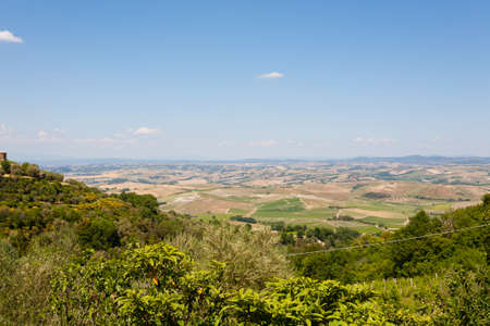 Montalcino view, tuscany, Italy. Famous italian medieval town. Rural landscape