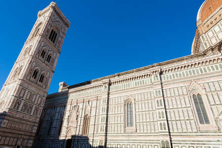 Florence Cathedral and Giottos bell tower, Italian panorama. Tuscany landmark Banco de Imagens