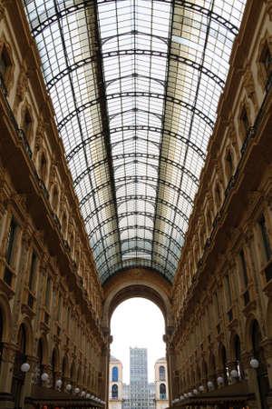 MILAN, ITALY - OCTOBER 16 : Galleria Vittorio Emanuele II view. Famous Italian landmark.