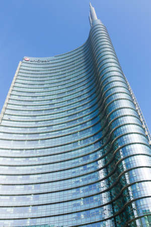 MILAN, ITALY-OCTOBER 30, 2016: Financial district view. Modern skyscrapers in Gae Aulenti square. Unicredit bank tower