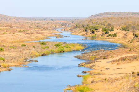 Olifants River panorama from Satara camp viewpoint, Kruger National Park, South Africa. African landscape. wild nature view.