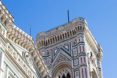 Florence Cathedral and Giottos bell tower, Italian panorama. Tuscany landmark Stock Photo