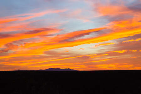 Sunset from Addo Elephant National Park, South Africa. Dramatic sky. Open space landscape 版權商用圖片