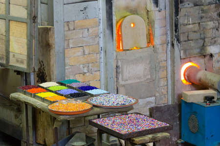 Craftsmanship of glass. Glass furnace view,Murano Venice,Italy.