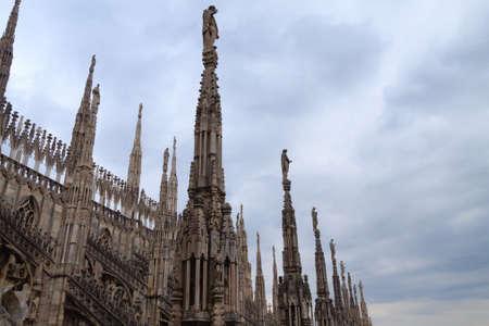 Milan Cathedral, Duomo di Milano, view. Famous Italian landmark. Gothic architecture