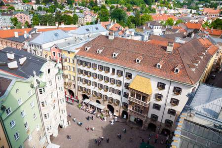 Innsbruck city center aerial view.  Golden Roof, Goldenes Dachl