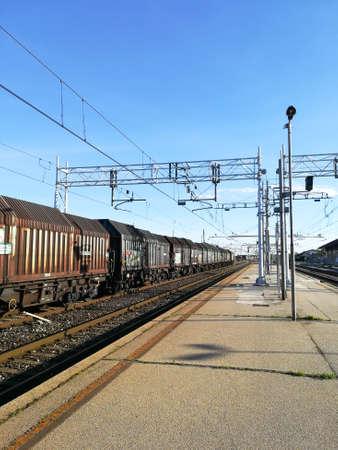 Train tracks perspective view. Transportation mode. Reklamní fotografie