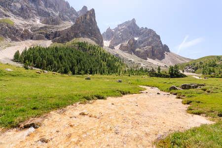 Mountain peaks view, dolomites landscape. Venegia valley, San Martino di Castrozza.