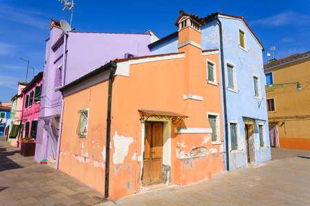 Colored houses view. Burano island, Venice. Traditional italian landscape. Redakční
