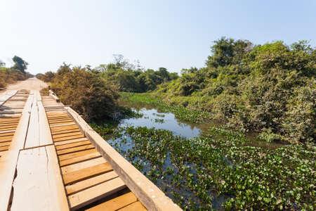 Wooden bridge in perspective. Famous Brazilian Transpantaneira dirt road. Pantanal area, Brazil Banco de Imagens
