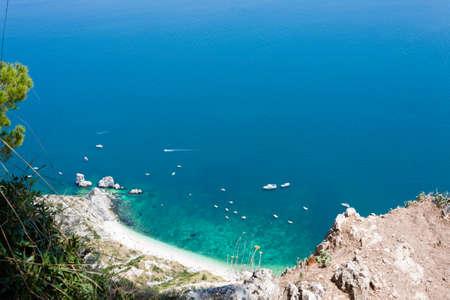 Aerial view  Sirolo beach, Conero, Marche, Italy. Due sorelle beach. Italian landmark Stock Photo