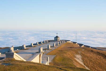 Italian alps landmark. First world war memorial. Grappa mountain
