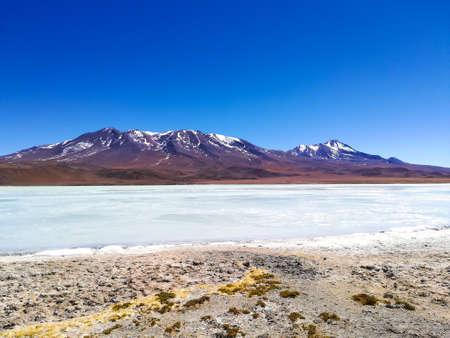 Laguna Hedionda landscape,Bolivia. Beautiful bolivian panorama. Blue water lagoon Stock Photo