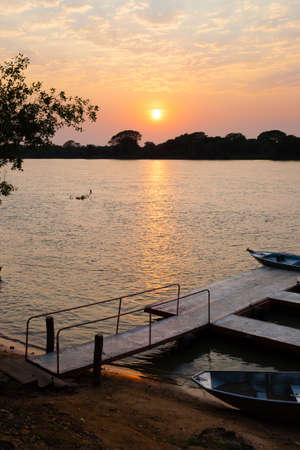 Sundown from Pantanal. Brazilian wetland region. Panorama from Brazil