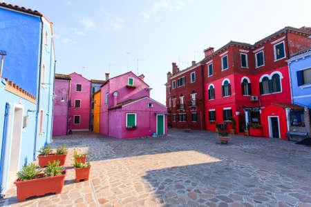 Colored houses view. Burano island, Venice. Traditional italian landscape. Reklamní fotografie