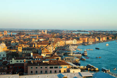 Aerial view of Venice at dawn, Italy. Ducal palace view. Italian landmark