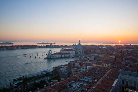 Aerial view of Venice at dawn, Italy. Saint Mary of Health church view. Italian landmark