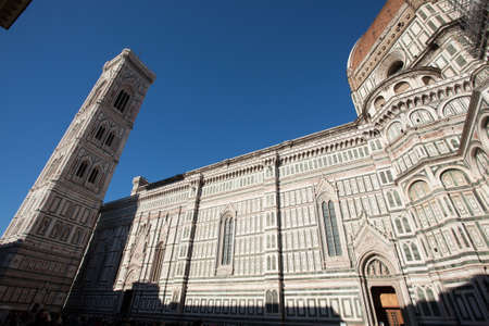 Florence Cathedral and Giottos bell tower, Italian panorama. Tuscany landmark Editorial