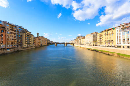 Beautiful Florence landscape, Italy. Houses along Arno river. Italian panorama Reklamní fotografie