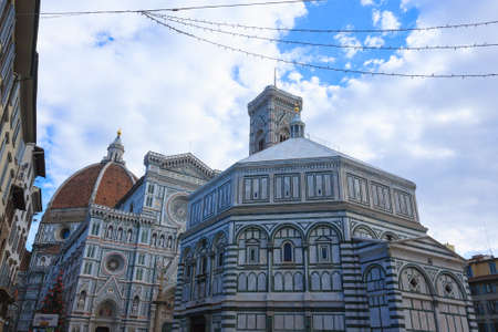 View of Florence Cathedral with Giotto bell tower, Italy. Italian landmark Reklamní fotografie
