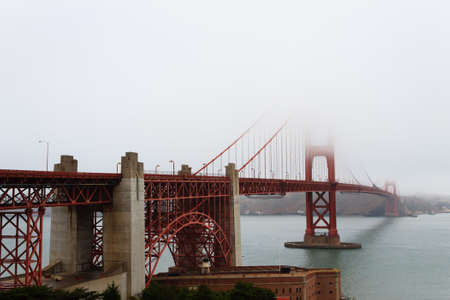 Golden Gate bridge with fog. Panorama from San Francisco, California.