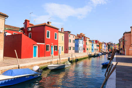 Colored houses view. Burano island, Venice. Traditional italian landscape. Reklamní fotografie