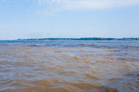 Meeting of Waters .Rio Negro and Rio Solimoes confluence near Manaus. Brazilian landmark Reklamní fotografie