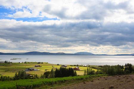 Leirvogsvatn lake on the road from Reykjavik to Pingvellir. Iceland landscape.