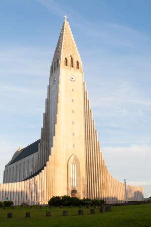 Hallgrimskirkja church exterior view, Reykjavik landmark. Reykjavik cathedral day view