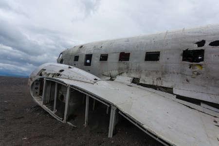 Solheimasandur plane wreck view. South Iceland landmark. Abandoned plane on beach