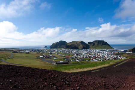 Heimaey town aerial view from Eldfell volcano. Iceland landscape. Westman Islands Stok Fotoğraf