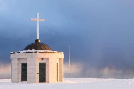 First world war memorial in winter season,Italy landmark. Monte grappa,italian alps